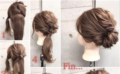 Прическа пучок на средние волосы фото Своими руками