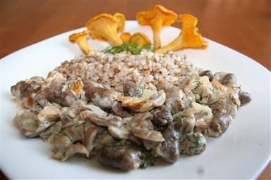 Куриные желудочки со сметаной и молоком на сковороде