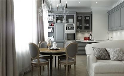 Интерьеры кухонь гостиных в серых оттенках 72 фото