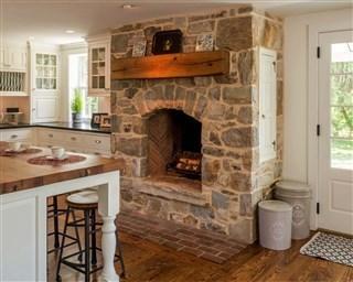 Если для частного дома гостиная кухня с дровяным камином